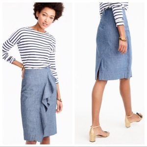 NWT J. Crew Chambray Ruffle Skirt Size 0P